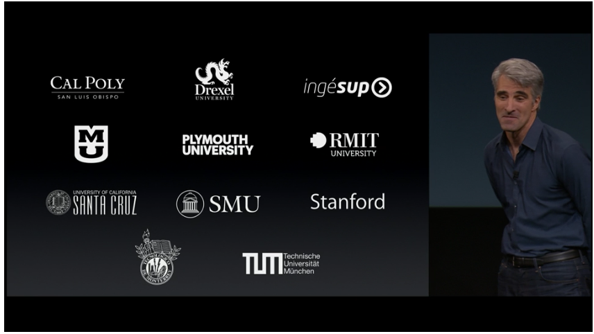 A screenshot of an Apple event with the University of Missouri's Swift class called out.